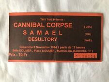 Ticket Concert CANNIBAL CORPSE Rare 1994