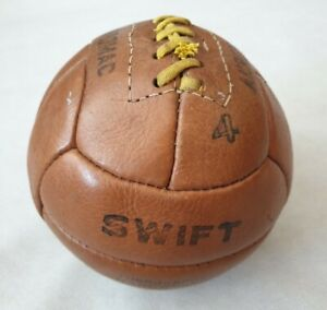 Vintage Anromac Swift Hand Sewn 12 Panel Brown Leather Football Size 4 1950s