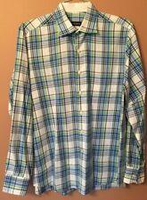 Bullock Jones Men's Long Sleeve Plaid Button Down Shirt Large Algodon Cotton