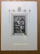 "EBS Croatia Hrvatska NDH 1943 Philatelic Exhibition ""S"" SHEET Michel Block 6I**"