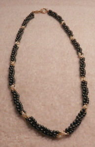 """Vintage 3 Strand Twisted Hematite & Faux Pearl 24"""" Necklace w/Gold Tone Fastener"""