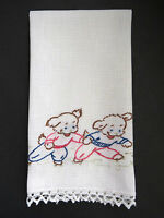 Embroidered Dogs Hand Towel on White Houk Vintage Puppies Kitchen Tea Dish Towel