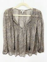 Joie Brown Silk Top Blouse Size Small Tassel Tie Front Long Sleeves