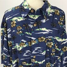 KnightsBridge Hawaiian Aloha Shirt Floral Palm Trees Blue 2X Button Down