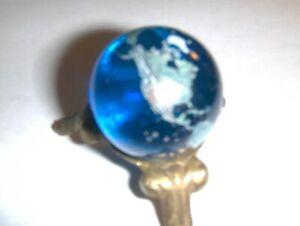 New Old Stock Blue Earth Marble  1 3/8 inch Detailed Glass Marble Mini Globe