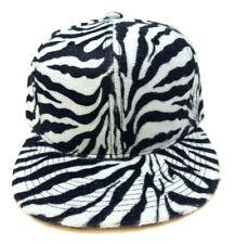 BLACK WHITE FAUX ZEBRA STRIPES PRINT SNAPBACK HAT CAP FLAT BILL RETRO ANIMAL NWT