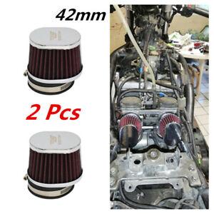 1 Pair 42mm Motorbike Engine Cold Air Intake High Flow Cone Filter Universal