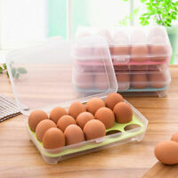 15 Grids Portable Egg Storage Case Holder Box Eggs Container Tray Fridge&Freezer