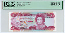 1974 (1984) BAHAMAS $3 PCGS 69 PPQ SUPERB GEM NEW PK 44a Top Pop FINEST KNOWN!