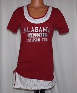 NEW  NCAA Official ALABAMA CRIMSON TIDE Junior Medium BASEBALL DUGOUT S/S TEE