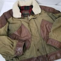 Vintage Pilots Jacket Leather Wool Shearling Size Large Made In Italy Brown Red