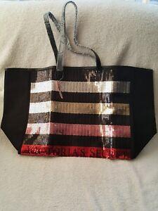 Victorias Secret VS Seqiun Stripe Weekender Tote Bag Large Black Limited Edition