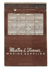 Vintage 1944 Calendar Matchcover MARTIN & TURNER MARINE SUPPLIES WILMINGTON CA