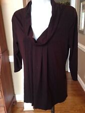 KENNETH COLE NEW YORK Knit Top Size XS Cowl Neck Dark Brown