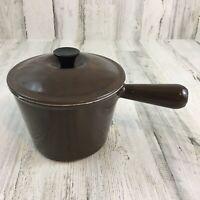 Le Creuset Saucepan Pot Lid Brown Vintage Cast Iron Handle Enamel 2
