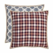"""PLAID CHECK DAMASK RED BLUE WHITE BEIGE 100% COTTON CUSHION COVER 16""""- 40CM"""
