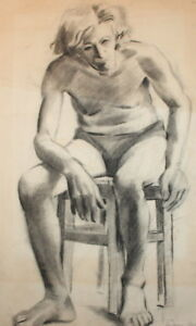 1959 Pencil drawing nude portrait signed