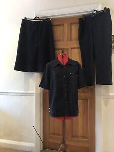 Lounge 3 Piece Outfit By Oscar B Blouse Short Midi Skirt & Palazzo Pants Sz18