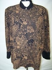 Dana Kay Brown Black Button Front Long Sleeve Stretch Top Womens Plus Sz 22W 3X