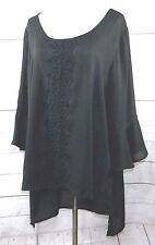 40e65b2be03 SPENSE WOMEN PLUS 2X ROMANTIC SEMI SHEER CHIFFON BLACK TUNIC TOP BLOUSE HI  LO