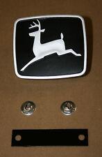 John Deere 300 312 314 316 317 Medallion Emblem NEW M84353 w/ Strap & Push Nuts