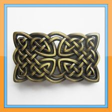 IRISH CELTIC KNOTS GOLD CROSS MEDIAVAL BELT BUCKLE