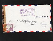 Dutch Antilles WWII Dbl Censor Princess Juliana Visits  H/S Cachet '44 Cover Z87