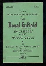 1958 ROYAL ENFIELD 350 CLIPPER O.H.V. MOTORCYCLE PARTS MANUAL