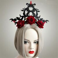 Gothic Vintage Women's Red Floral Crown Hair Band Girls Headwear Party Halloween