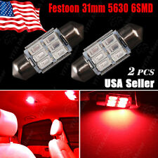 2X Pure Red High Power 5630 6-SMD Festoon 31MM Interior Map Dome Cargo LED Light