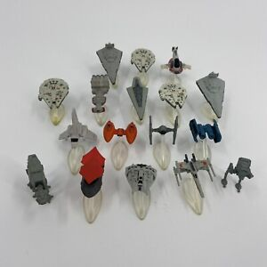 Lot of 17 Vintage 1990's Star Wars Micro Machines SHIPS Vehicles & STANDS Loose