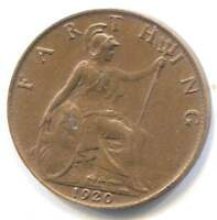 Great Britain 1920 Farthing Coin - United Kingdom England - King George V