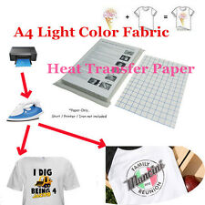 New T-Shirt Laser/Inkjet Iron-On Heat Transfer Paper, For Light Color Fabric A4