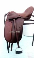 New Leather Dressage Treeless Saddle Brown Size with Accessories in 9 sizes