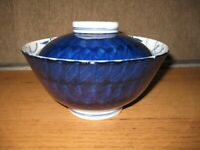 Unique Hand Painted Japanese Covered Bowl Cobalt Blue White Brush Floral Motif