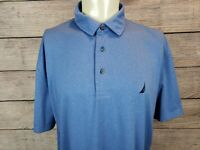 Nautica Mens XL Blue Polo Shirt Short Sleeves Stretch Golf Athletic Buttons