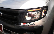 MATTE BLACK METAL FRONT HEADLIGHT LAMP COVER TRIM NEW FIT FORD RANGER T6 12-2014