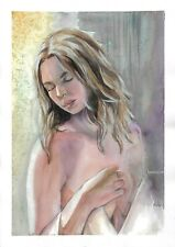 original drawing А3 90SE art samovar watercolor female nude Signed 2020