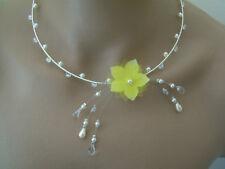 Collier Jaune/Ivoire/Blanc/Cristal Fleur Perles Mariée/Mariage/Soirée pas cher