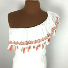 Lilly Rose Womens Top Small S White Cold Shoulder Sleeveless Ruffle Tassel Layer