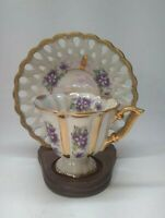 Antique Royal Sealy China Teacup and Saucer Iridescent Luster / Purple Violets