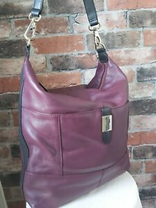 MARKS & SPENCERS LARGE 100% LEATHER MULBERRY PLUM PURPLE SLOUCH HOBO SHULDER BAG