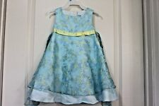 Rare Editions 2T Toddler Dress Blue Yellow Flower Satin Lined