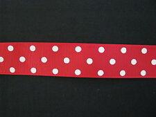 "hot red white polka dot grosgrain ribbon 7/8"" per 1 mtr hair scrapbooking cards"