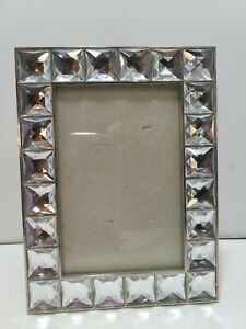 """Vintage Silver Tone Metal Rhinestone Squares Picture Frame Holds 3.5"""" x 5"""" Pic"""