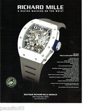 PUBLICITE ADVERTISING 066  2015  Richard Mille montre RM30 Polo Club Saint-Trope