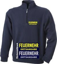 FEUERWEHR Sweat-Shirt / Zipp Neck Sweat/ Pullover - kurzer Reißverschluss