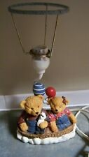 Blue Jean Teddy Bear Nursery Lamp without Shade, On/Off Switch