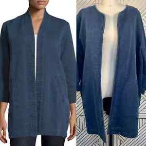 Eileen Fisher The Fisher Project Denim Kimono Jacket Indigo Blue Cotton Size L