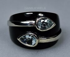 Sterling Silver DESIGNER Michelle Albala Blue Topaz Pear Black Onyx Ring SZ 6.5